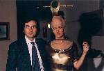 Il direttore d'orchestra Nicola Colabianchi con la Soprano Nausicaa Policicchio che indossa un abito disegnato dal maestro Enzo Carnebianca. Forte Spagnolo dell'Aquila